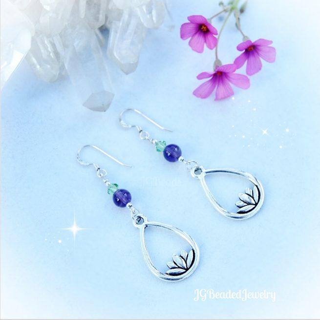 Amethyst Lotus Flower Earrings
