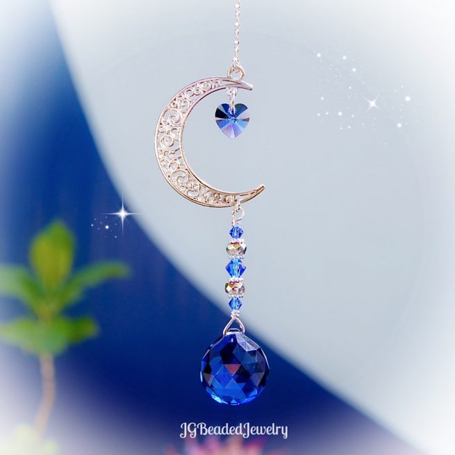 Blue Love You To The Moon And Back Swarovski Crystal Suncatcher