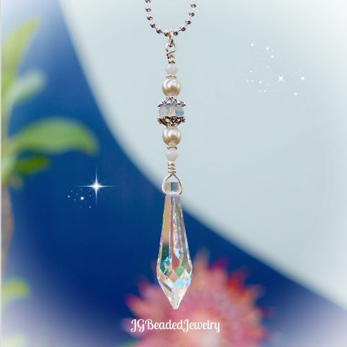 White Pearl Opal Icicle Crystal Suncatcher
