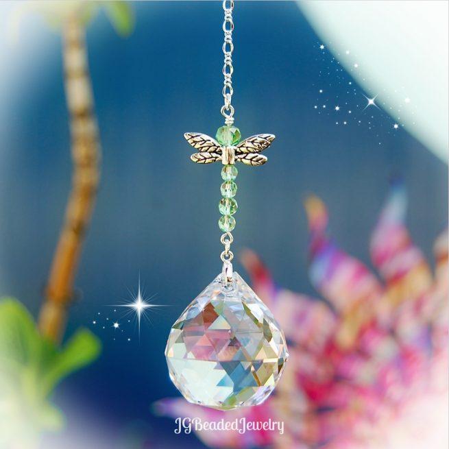 Peridot Green Dragonfly Crystal Suncatcher