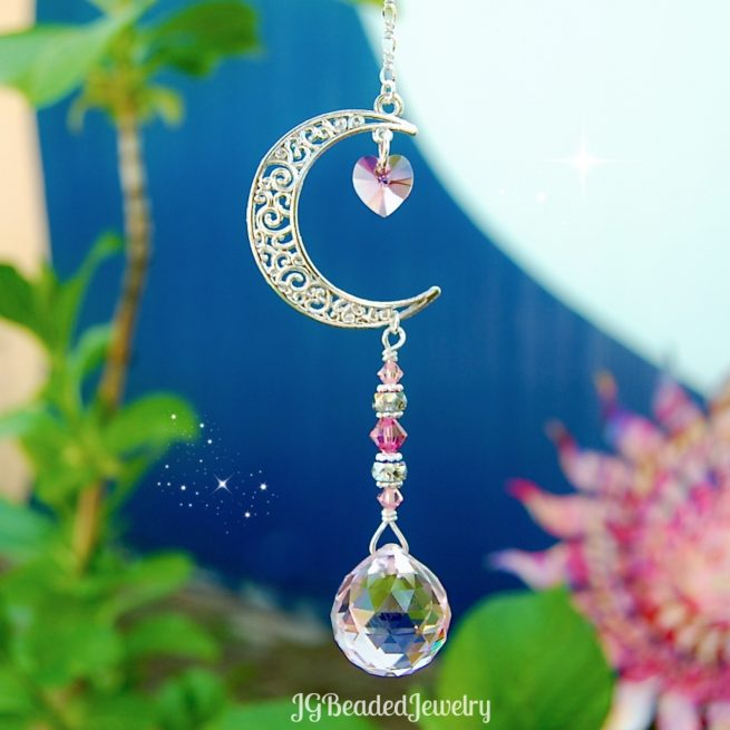 Pink Love You To The Moon And Back Swarovski Crystal Suncatcher