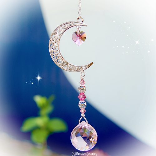 Pink Love You To The Moon And Back Crystal Suncatcher