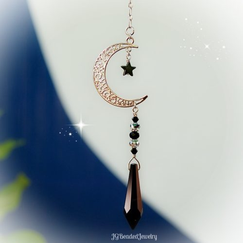 Black Moon and Star Crystal Decoration