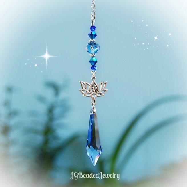 Blue Icicle Om Lotus Flower Crystal Suncatcher