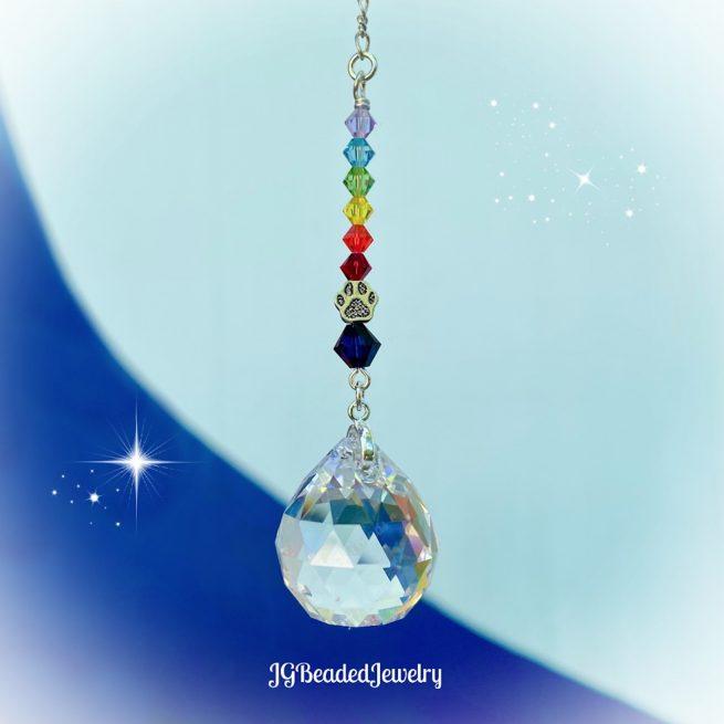 Blue Paw Rainbow Bridge Crystal Suncatcher