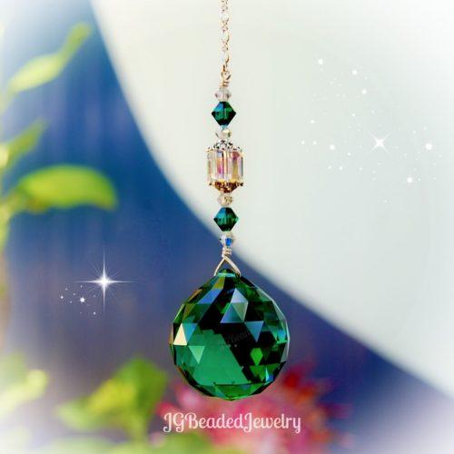 Emerald Green Swarovski Crystal Suncatcher