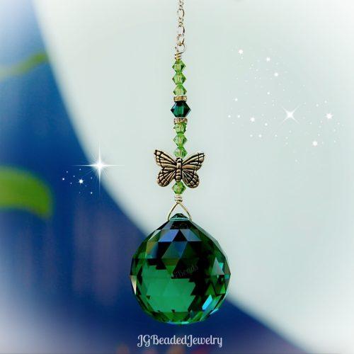 Emerald Green Butterfly Swarovski Crystal Suncatcher