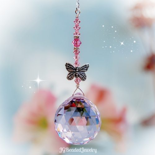 Pink Butterfly Swarovski Crystal Suncatcher