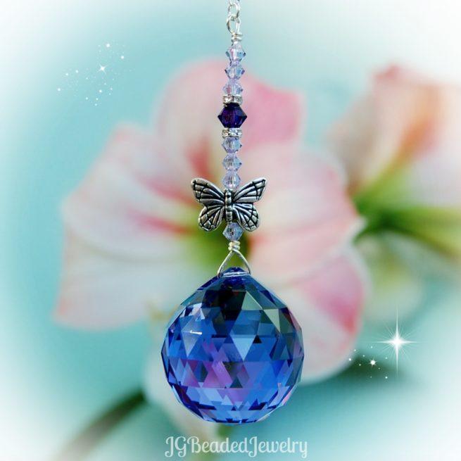 Purple Butterfly Swarovski Crystal Suncatcher