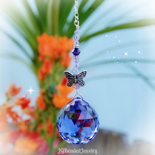 Purple Butterfly Swarovski Crystal Suncatcher Prism