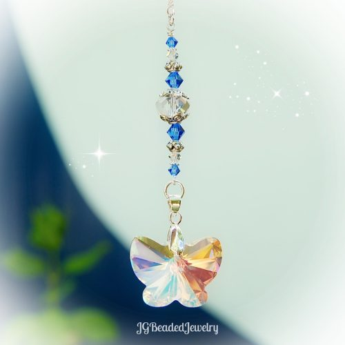 Sapphire Blue Butterfly Crystal Suncatcher