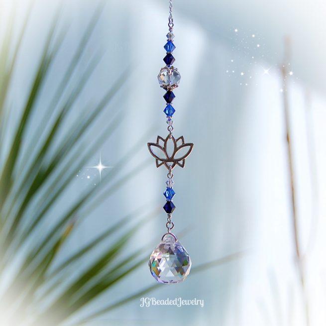 Blue Lotus Flower Crystal Suncatcher