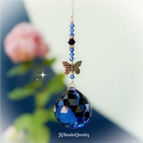 Dark Sapphire Butterfly Swarovski Crystal Suncatcher