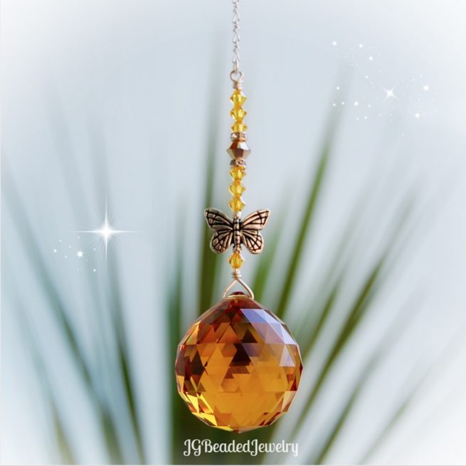 Gold Topaz Butterfly Swarovski Crystal Suncatcher
