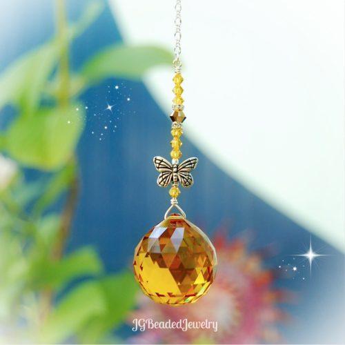 Gold Topaz Butterfly Swarovski Crystal Suncatcher Prism