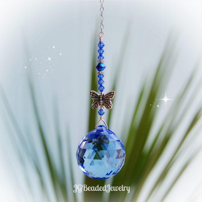 Light Sapphire Butterfly Swarovski Crystal Suncatcher