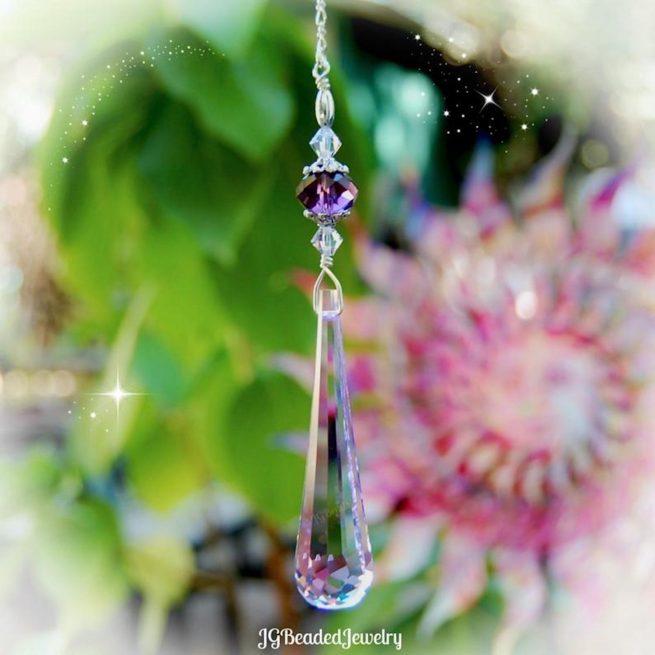 Purple Raindrop Swarovski Crystal Suncatcher