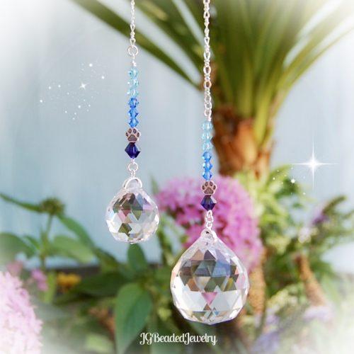 Blue Paw Prism Crystal Suncatcher