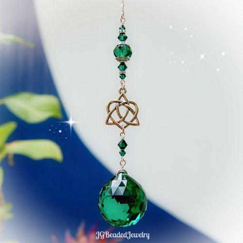 Emerald Celtic Heart Knot Crystal Suncatcher