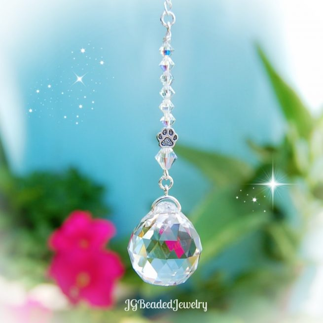 Iridescent Paw Crystal Suncatcher
