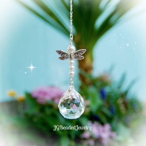 Pearl Dragonfly Crystal Suncatcher