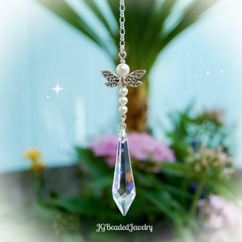 Pearl Teardrop Dragonfly Crystal Suncatcher