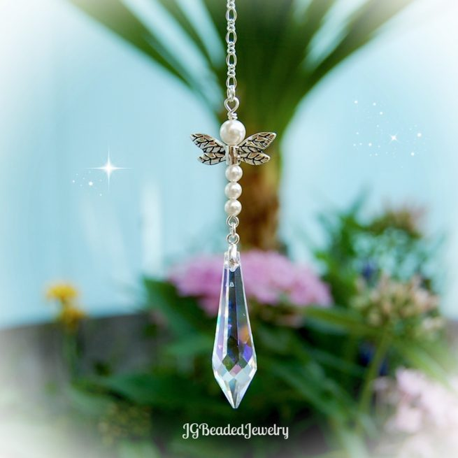 Pearl Teardrop Crystal Suncatcher