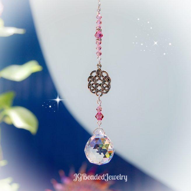 Pink Celtic Knot Crystal Suncatcher