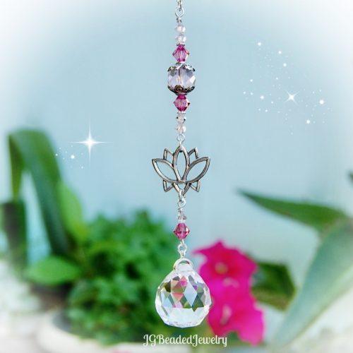 Pink Lotus Flower Crystal Prism Suncatcher