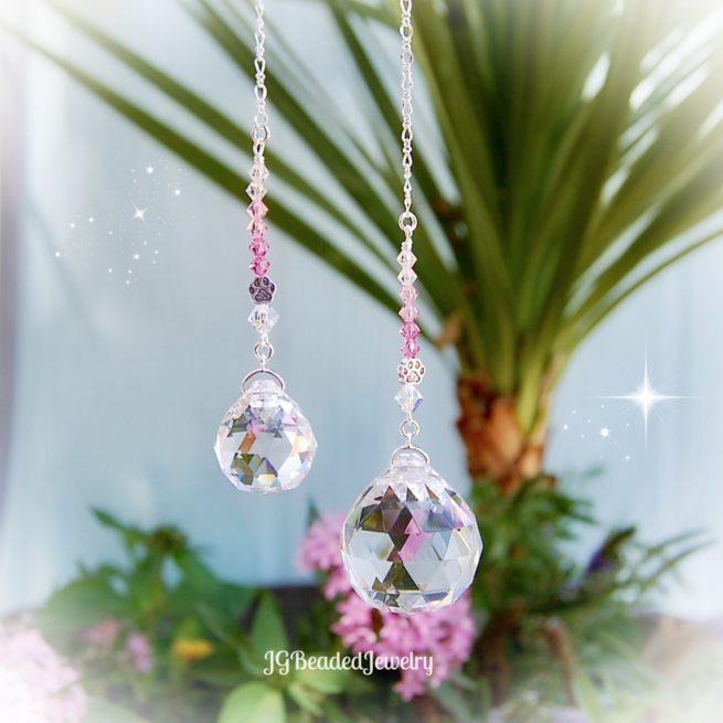 Pink Paw Prism Crystal Suncatcher