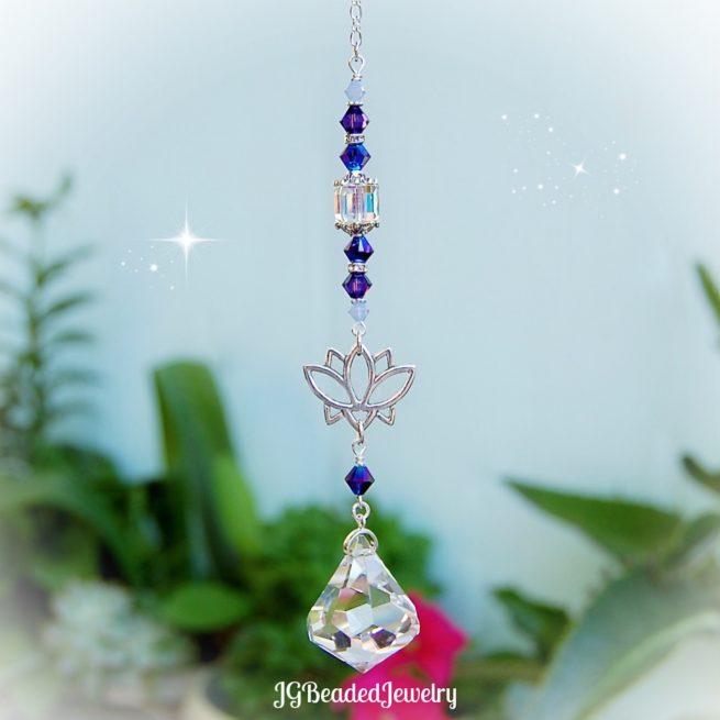 Purple Iris Lotus Flower Crystal Suncatcher