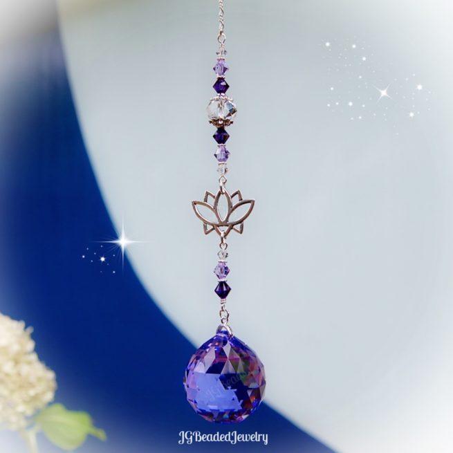 Purple Violet Lotus Flower Crystal Suncatcher