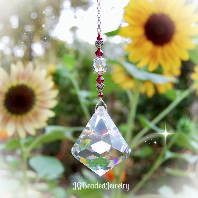 Ruby Celtic Heart Crystal Suncatcher