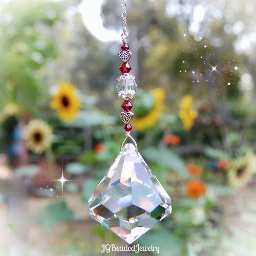 Ruby Celtic Heart Suncatcher Prism