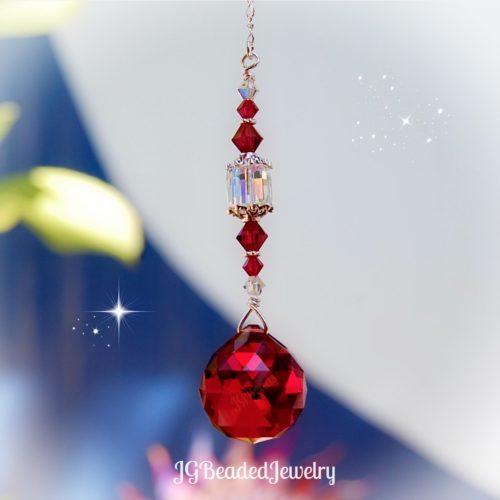 Ruby Swarovski Crystal Suncatcher