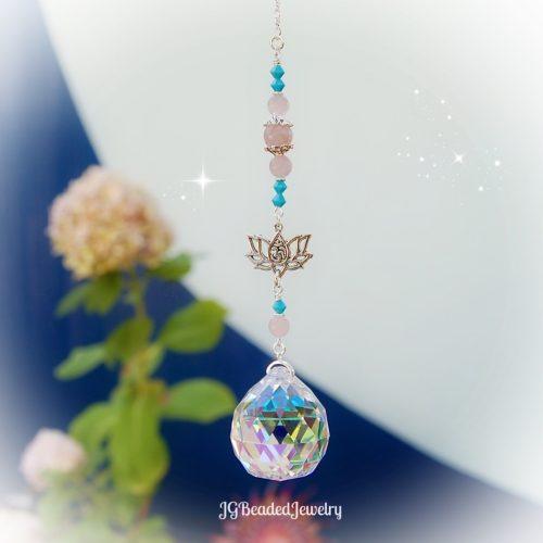 Turquoise Pink Om Lotus Flower Suncatcher