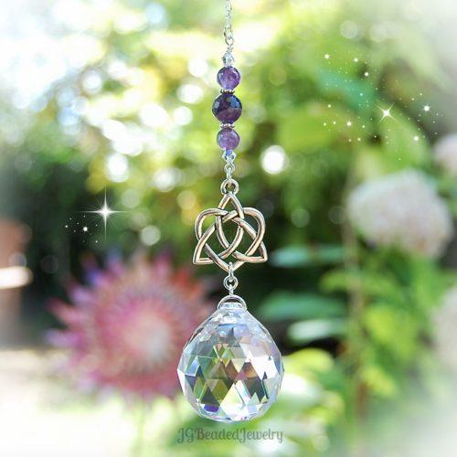 Amethyst Celtic Heart Knot Crystal Suncatcher