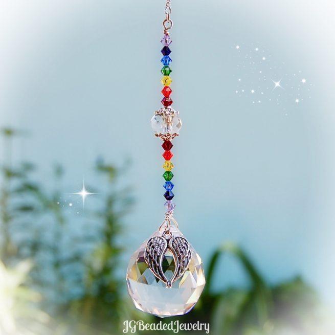 Angel Wing Rainbow Crystal Suncatcher Prism