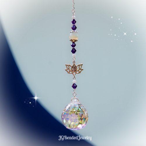 Sea Opal Om Lotus Flower Crystal Suncatcher