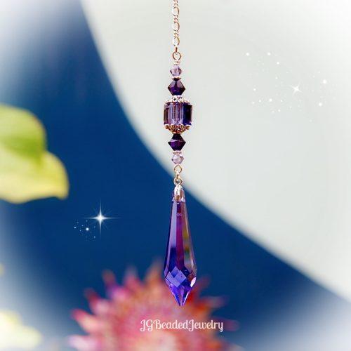 Purple Teardrop Crystal Suncatcher Prism