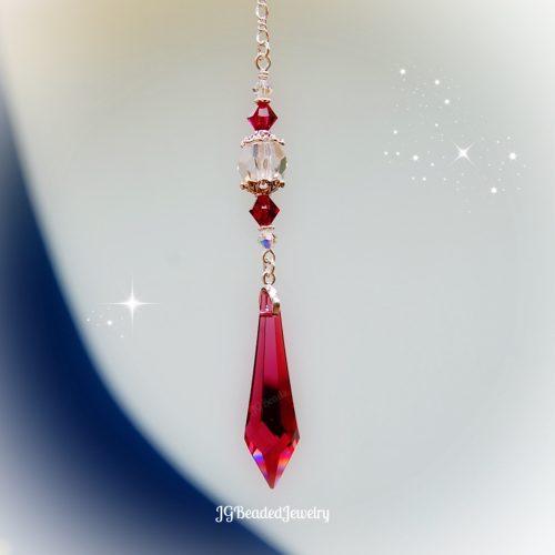 Ruby Teardrop Crystal Suncatcher