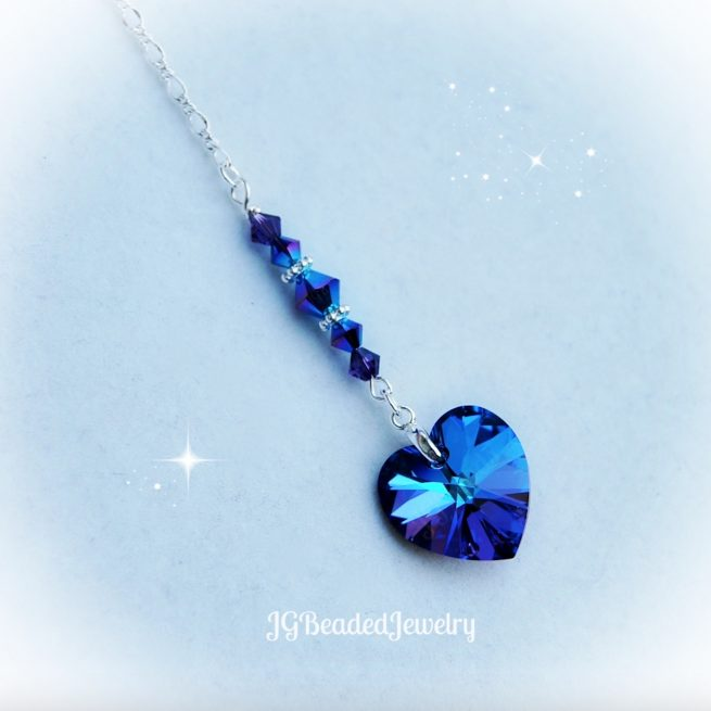 Iris Purple Heart Crystal Ornament