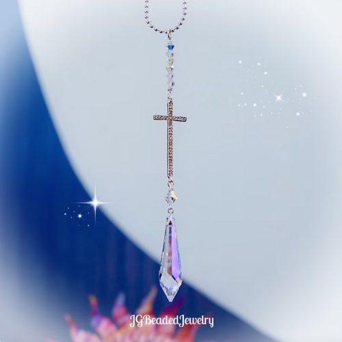 Cross Crystal Suncatcher Icicle Prism