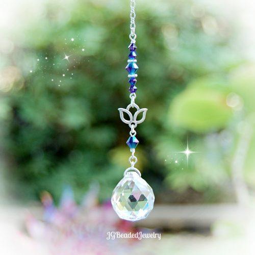 Iris Blue Lotus Flower Crystal Suncatcher