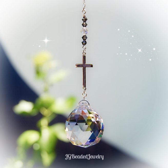 Silver Cross Crystal Suncatcher