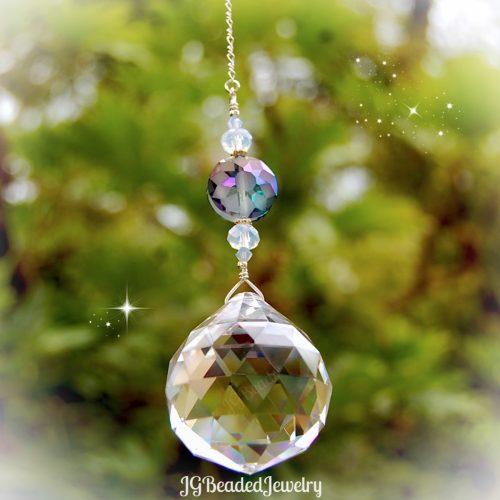 Blue Flower Opal Crystal Suncatcher