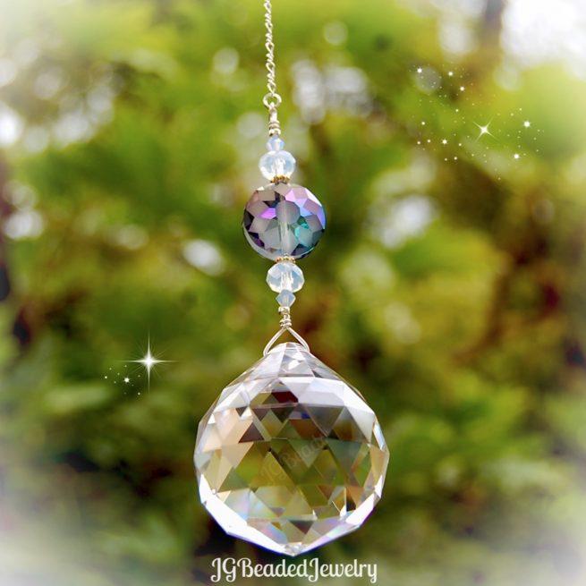 Blue Opal Flower Crystal Suncatcher