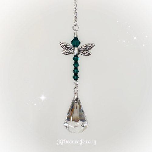 Emerald Green Dragonfly Crystal Suncatcher