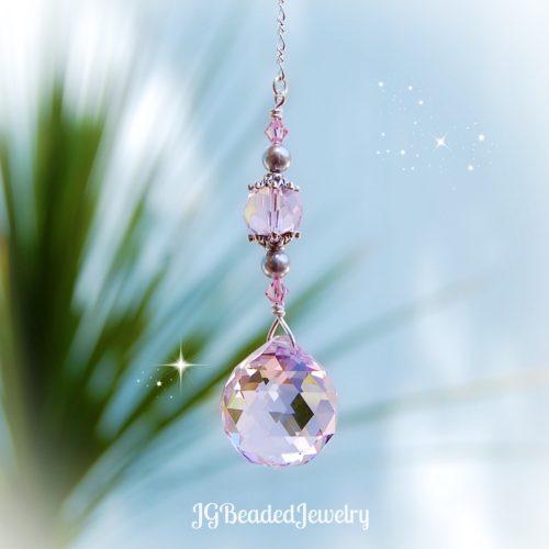 Pink Lavender Swarovski Crystal Suncatcher