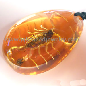 Real Scorpion Necklace in Amber